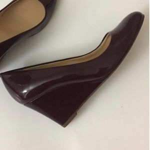 J. Crew Sylvia pump wedges - burgundy wine